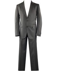Valentino Size 40 Gray Stripe Regular Virgin Wool Notch Lapel Suit