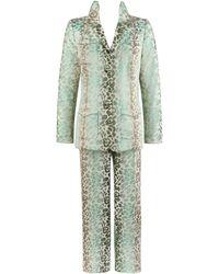 Oscar de la Renta S/s 2006 2pc Floral Gradient Illusion Trouser Pants Suit Set - Gray