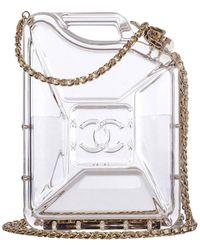Chanel Minaudire Gasoline Clear Ghw Plexiglass Clutch - Gray