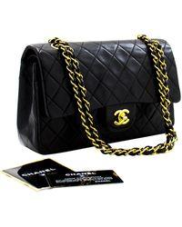 "Chanel 2.55 Double Flap 10"" Chain Shoulder Bag Lambskin - Black"