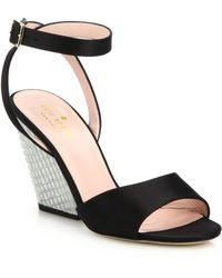 Kate Spade | Isadora Satin Jeweled Wedge Sandals | Lyst