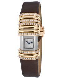 Cartier Women'S Diamond Declaration Brown Satin Strap Silver-Tone Dial - Lyst