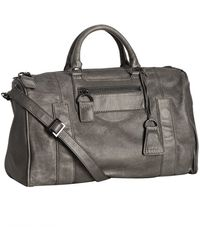 Topshop Charcoal Leather Ty Large Satchel - Lyst
