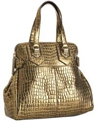 Givenchy Gold Croc Embossed New Line Moyen Tote - Lyst