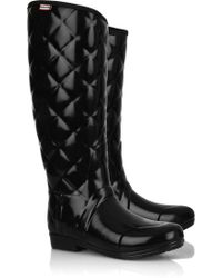 Hunter Regent Savoy Quilted Wellington Boots black - Lyst