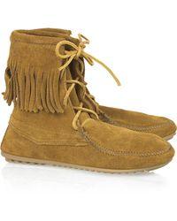 Minnetonka Tramper Ankle Hi Moccasin Ankle Boots - Brown