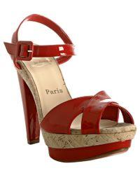 Christian Louboutin Red Patent Lafalaise Platform Sandals - Lyst