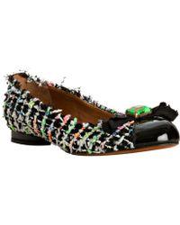 Marc Jacobs Black Tweed Patent Cap Toe Flats - Lyst