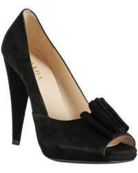 Prada Black Suede Bow Detail Peep Toe Pumps - Lyst