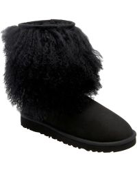 Ugg Black Sheepskin Cuff Boot - Lyst