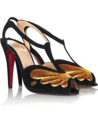 Christian Louboutin Peplum 100 Suede Sandals - Lyst