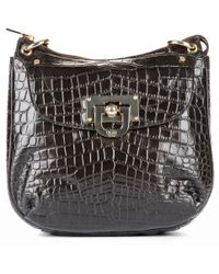 DKNY Crocodile Leather Shoulder Bag - Lyst