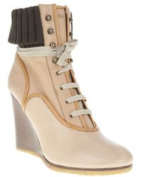Chloé Panelled Wedge Boot - Natural