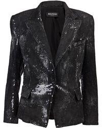 Balmain Sequined Denim Jacket - Lyst