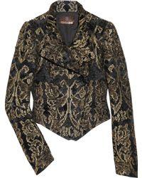 Roberto Cavalli Metallic Brocade Cropped Jacket - Lyst