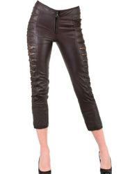 Sonia Villa Slit Leg Leather Trousers brown - Lyst