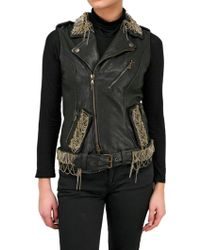 Jo No Fui Nappa Leather Embroidery Vest - Black