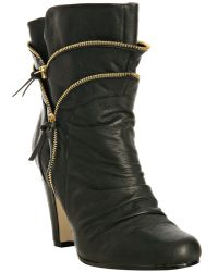 Dolce Vita Dv By Dolce Vita Black Leather Whitney Zip Detail Booties - Lyst
