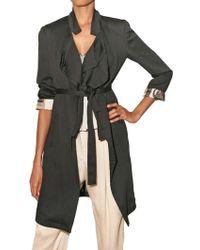 Etro Crinkled Viscose Trench Coat - Black