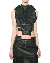 Givenchy Pleated Leather Bib Top black - Lyst