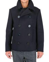 Black Fleece Wool Melton Pea Coat - Lyst