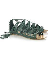 Proenza Schouler Lace-up Leather Sandals - Lyst