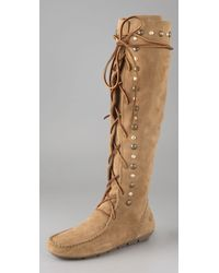 House of Harlow 1960 - Suede Lace-up Mocassin Boots - Lyst
