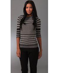 Lela Rose 3/4 Sleeve Crew Neck Sweater - Lyst