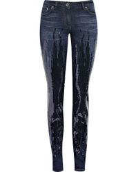 Roberto Cavalli Sequin-embellished Mid-rise Skinny Jeans - Lyst