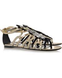 Roberto Cavalli Embellished Nappa Leather Sandals - Lyst