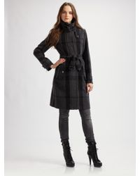 Burberry Belted Check Coat - Lyst