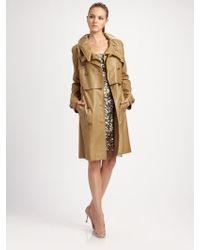 Elie Tahari Silken Leather Trench Coat - Lyst