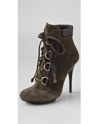 Giuseppe Zanotti Lace Up Suede Booties green - Lyst