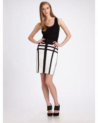 Hervé Léger Contrast Lines Pencil Skirt - Lyst