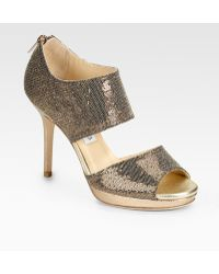 Jimmy Choo Lagoon Platform Metallic & Glitter-covered Leather Sandals - Lyst