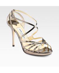 Jimmy Choo Glacier Mirror Leather Sandals - Lyst