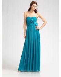 Notte by Marchesa Strapless Silk Chiffon Gown - Lyst