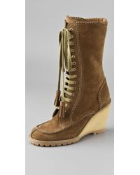 See By Chloé Lace Up Suede Boots On Crepe Wedge - Brown