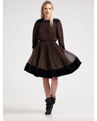 Sophie Theallet Velvet Banded Silk Dress Lyst