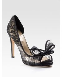Valentino Peep-toe Lace Couture Dorsay Pumps - Lyst