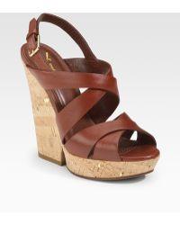 Saint Laurent Deauville Strappy Wedge Sandals - Lyst