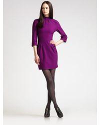 Z Spoke by Zac Posen Mock Turtleneck Jersey Dress - Purple