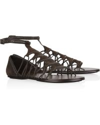 Elizabeth and James E-stint Flat Suede Sandals - Brown