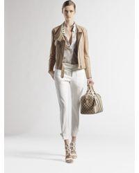 Gucci Leather Biker Jacket white - Lyst