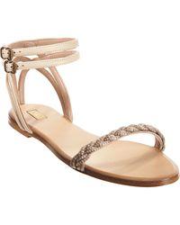 Chloé Metallic Braided Sandal - Lyst
