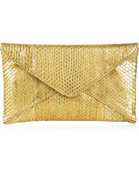 Michael Kors Metallic Python Envelope Clutch - Lyst