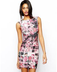 Lipsy Bodyconscious Dress in Floral Check - Lyst
