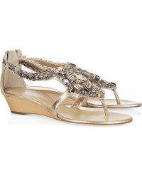 Giuseppe Zanotti Crystal-embellished Leather Wedge Sandals - Lyst