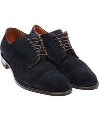Alden Suede Lace Up Derby Shoes - Blue