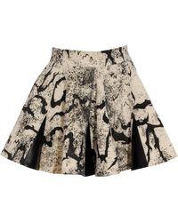 Felder Felder - Printed Skater Skirt with Leather Trim - Lyst